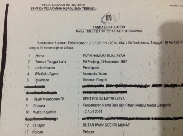 Surat Laporan Polisi Fatin Hamama